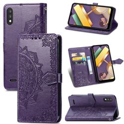 Embossing Imprint Mandala Flower Leather Wallet Case for LG K22 / K22 Plus - Purple