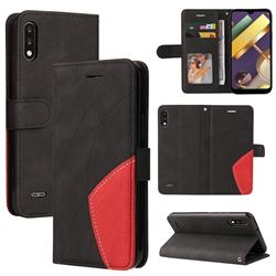 Luxury Two-color Stitching Leather Wallet Case Cover for LG K22 / K22 Plus - Black