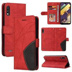 Luxury Two-color Stitching Leather Wallet Case Cover for LG K22 / K22 Plus - Red