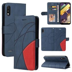 Luxury Two-color Stitching Leather Wallet Case Cover for LG K22 / K22 Plus - Blue