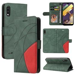 Luxury Two-color Stitching Leather Wallet Case Cover for LG K22 / K22 Plus - Green