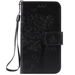 Embossing Butterfly Tree Leather Wallet Case for LG K3 - Black