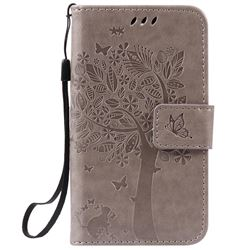 Embossing Butterfly Tree Leather Wallet Case for LG K3 - Grey