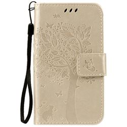 Embossing Butterfly Tree Leather Wallet Case for LG K3 - Champagne