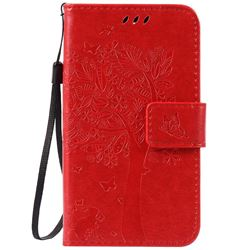 Embossing Butterfly Tree Leather Wallet Case for LG K3 - Red