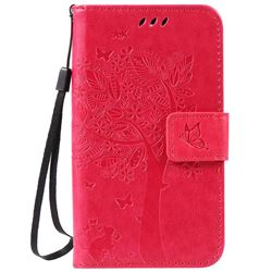 Embossing Butterfly Tree Leather Wallet Case for LG K3 - Rose