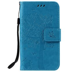 Embossing Butterfly Tree Leather Wallet Case for LG K3 - Blue