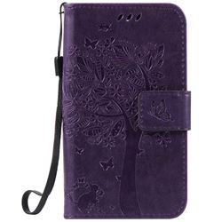 Embossing Butterfly Tree Leather Wallet Case for LG K3 - Purple
