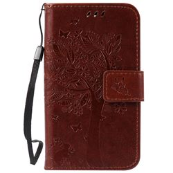 Embossing Butterfly Tree Leather Wallet Case for LG K3 - Brown