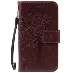 Embossing Butterfly Tree Leather Wallet Case for LG K3 - Coffee