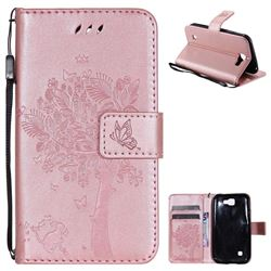 Embossing Butterfly Tree Leather Wallet Case for LG K3 - Rose Pink