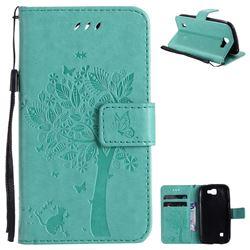 Embossing Butterfly Tree Leather Wallet Case for LG K3 - Cyan