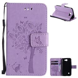 Embossing Butterfly Tree Leather Wallet Case for LG K3 - Violet
