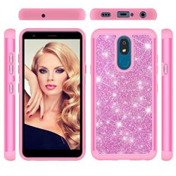 Glitter Rhinestone Bling Shock Absorbing Hybrid Defender Rugged Phone Case Cover for LG K30 (2019) 5.45 inch - Pink