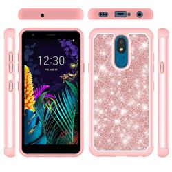 Glitter Rhinestone Bling Shock Absorbing Hybrid Defender Rugged Phone Case Cover for LG K30 (2019) 5.45 inch - Rose Gold