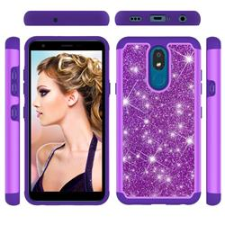 Glitter Rhinestone Bling Shock Absorbing Hybrid Defender Rugged Phone Case Cover for LG K30 (2019) 5.45 inch - Purple