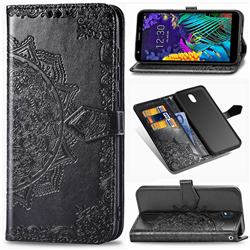 Embossing Imprint Mandala Flower Leather Wallet Case for LG K30 (2019) 5.45 inch - Black