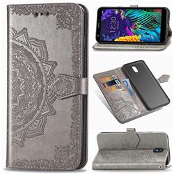 Embossing Imprint Mandala Flower Leather Wallet Case for LG K30 (2019) 5.45 inch - Gray