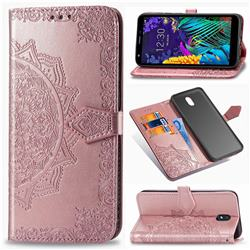 Embossing Imprint Mandala Flower Leather Wallet Case for LG K30 (2019) 5.45 inch - Rose Gold