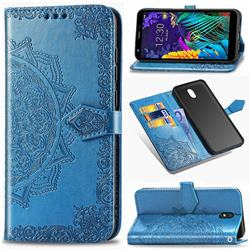 Embossing Imprint Mandala Flower Leather Wallet Case for LG K30 (2019) 5.45 inch - Blue