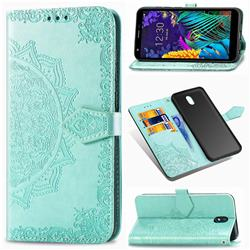 Embossing Imprint Mandala Flower Leather Wallet Case for LG K30 (2019) 5.45 inch - Green