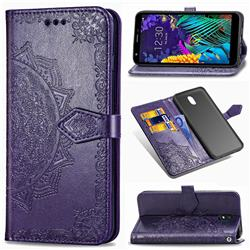 Embossing Imprint Mandala Flower Leather Wallet Case for LG K30 (2019) 5.45 inch - Purple