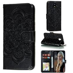 Intricate Embossing Datura Solar Leather Wallet Case for LG K30 (2019) 5.45 inch - Black