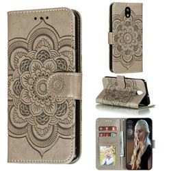 Intricate Embossing Datura Solar Leather Wallet Case for LG K30 (2019) 5.45 inch - Gray