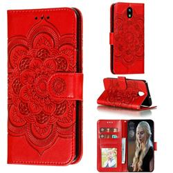 Intricate Embossing Datura Solar Leather Wallet Case for LG K30 (2019) 5.45 inch - Red