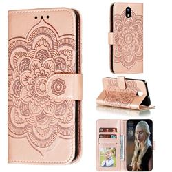 Intricate Embossing Datura Solar Leather Wallet Case for LG K30 (2019) 5.45 inch - Rose Gold