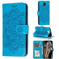 Intricate Embossing Datura Solar Leather Wallet Case for LG K30 (2019) 5.45 inch - Blue
