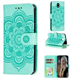 Intricate Embossing Datura Solar Leather Wallet Case for LG K30 (2019) 5.45 inch - Green