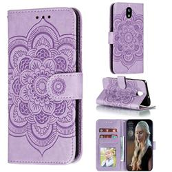 Intricate Embossing Datura Solar Leather Wallet Case for LG K30 (2019) 5.45 inch - Purple