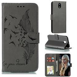 Intricate Embossing Lychee Feather Bird Leather Wallet Case for LG K30 (2019) 5.45 inch - Gray