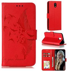 Intricate Embossing Lychee Feather Bird Leather Wallet Case for LG K30 (2019) 5.45 inch - Red
