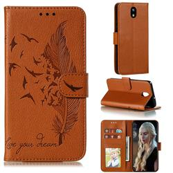 Intricate Embossing Lychee Feather Bird Leather Wallet Case for LG K30 (2019) 5.45 inch - Brown