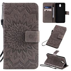 Embossing Sunflower Leather Wallet Case for LG K30 (2019) 5.45 inch - Gray