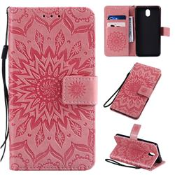 Embossing Sunflower Leather Wallet Case for LG K30 (2019) 5.45 inch - Pink