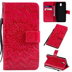 Embossing Sunflower Leather Wallet Case for LG K30 (2019) 5.45 inch - Red