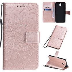 Embossing Sunflower Leather Wallet Case for LG K30 (2019) 5.45 inch - Rose Gold