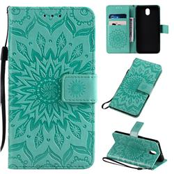 Embossing Sunflower Leather Wallet Case for LG K30 (2019) 5.45 inch - Green