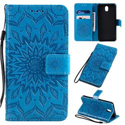 Embossing Sunflower Leather Wallet Case for LG K30 (2019) 5.45 inch - Blue