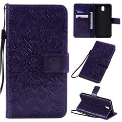 Embossing Sunflower Leather Wallet Case for LG K30 (2019) 5.45 inch - Purple