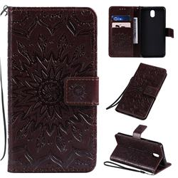 Embossing Sunflower Leather Wallet Case for LG K30 (2019) 5.45 inch - Brown