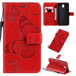 Embossing 3D Butterfly Leather Wallet Case for LG K30 (2019) 5.45 inch - Red