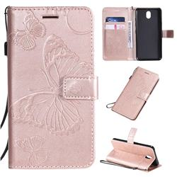 Embossing 3D Butterfly Leather Wallet Case for LG K30 (2019) 5.45 inch - Rose Gold