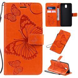 Embossing 3D Butterfly Leather Wallet Case for LG K30 (2019) 5.45 inch - Orange