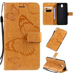 Embossing 3D Butterfly Leather Wallet Case for LG K30 (2019) 5.45 inch - Yellow