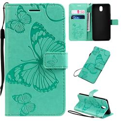 Embossing 3D Butterfly Leather Wallet Case for LG K30 (2019) 5.45 inch - Green