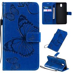 Embossing 3D Butterfly Leather Wallet Case for LG K30 (2019) 5.45 inch - Blue